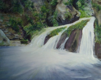 """Waterfall in the Luxembourg"" painting, acrylic on canvas"