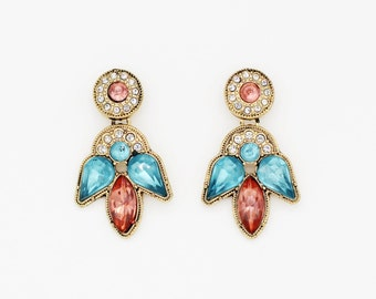 Exotic elegant rhinestone crystal earrings, gold pink blue