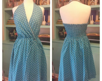 Blue with White Polka Dot Halter Dress Large Sz 14