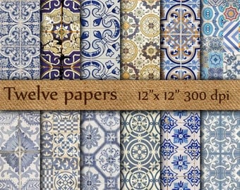 "Tiles digital papers: "" Blue tiles "" poruguese tiles , tunisian tiles , spanish tiles , abstract pattern , scrapbook papers"