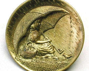 Terrific Antique Stamped Brass Picture Button ~ Little Girl with a Basket ~ Sharing her Umbrella with a Bird in a Rain Storm ~ So Cute!