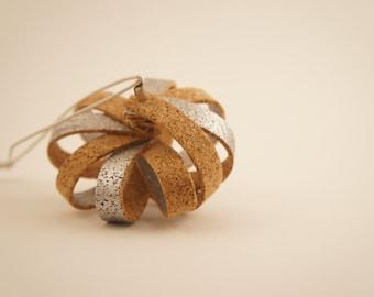 Handmade Modern Cork and Silver Christmas Ornament