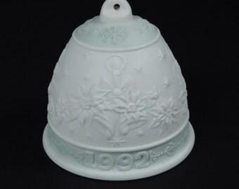 Lladro Porcelain 1992 Christmas Holiday Bell Mint Green Spain Ornament In Original Box Jesus Birth Bethlehem