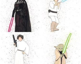 Star Wars Print Set/ Darth Vader/ Luke/ Leah/ Yoda/ collection prints/