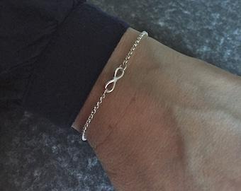 Sterling Silver Infinity Bracelet, 925 Silver Bracelet, Infinity Charm Bracelet, Gift for Her, Gift for Wife, Gift for Girlfriend
