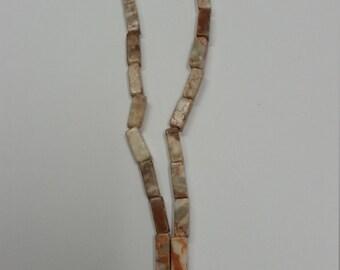 "Redline Marble Stone Beads - 15"" Long Strand - 20x10mm - Square Tube - Free Shipping"