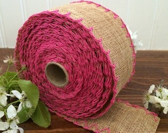 "2 1/2"" Natural Burlap with Hot Pink Stitch Ribbon - DIY Wedding - Crafts - 2, 5, 10 yrd - NW50212"