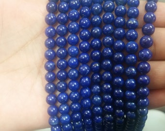 "Lapis Round Beads , 6.5-7mm, Natural Lapis , Length in 16""  Deep Blue Lapis, AAA Quality Round shape"