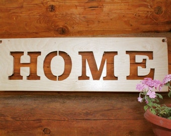 "Plywood SIGN ""Home""/ WALL ART/Sign/ Home décor/ Home Art/Handmade Sign/ Wooden letters/Standing Sign/Art Décor/Natural Plywood Sign/"