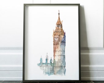 Big Ben print, London print, wall art, London poster, London decor, big ben poster, England, london art print, home decor