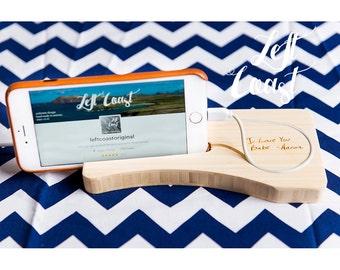 Custom Handwriting Charging Dock iPhone Gift White Wood Stand Stocking Stuffer Android Techie Man Mom Personalized Initials