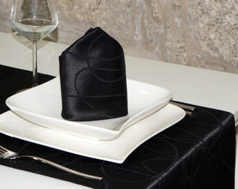 Luxury Black Table Runner - Anti Stain Proof Resistant - Pack of 2 units - Ref. Lines