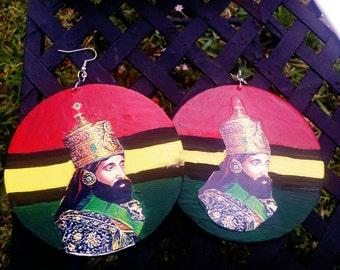 Haile Selassie I Rasta wood earrings