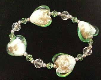Glass beaded heart bracelet