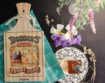 Dobbin's Vintage Ads Wooden Cutboard