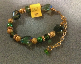No. 338 Green and Gold Bracelet