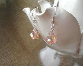 Peach Pink Crystal Drop Earrings