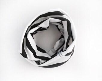 Organic cotton knit circle scarf, black and white stripe