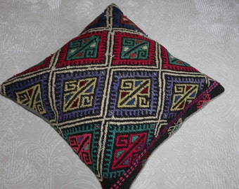 """24""""x24"""" pillow cover,embroidered kilim pillow,vintage kelim rug pillow cover handmade kilim cushion cover 24x24 floor pillow cover 26"""