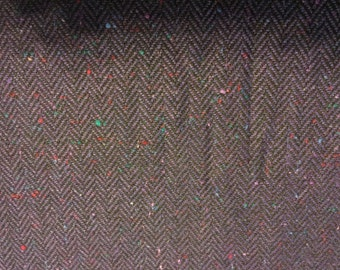 Purple and Black Herringbone Tweed Fabric