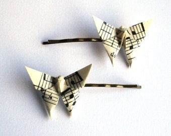 Origami Sheet Music Butterfly Hair Clips (two clips)