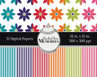 Digital Papers, Bright Flowers and Stripes , 12 inches x 12 inches, 300 ppi (dpi), Scrapbooking and Craft Papers, Downloadable and Printable