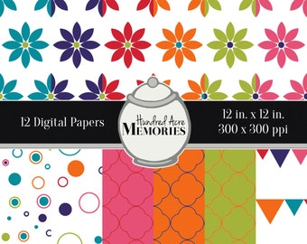 Digital Papers, Bright Flowers and Shapes , 12 inches x 12 inches, 300 ppi (dpi), Scrapbooking and Craft Papers, Downloadable and Printable