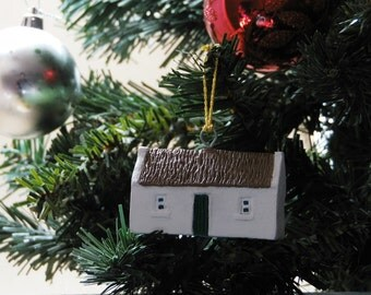 Christmas Tree ornament Irish Thatched cottage Christmas tree decoration . Made in Ireland.
