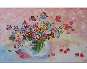 Original art Oil Painting Colorful painting Woodland décor Flower décor Flower art Still life art Original oil Painting on canvas Floral art