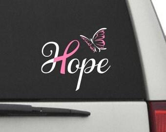 Car Decal - Hope Cancer Awareness Ribbon