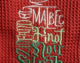Red Wine Bottle Embroiderd Towel