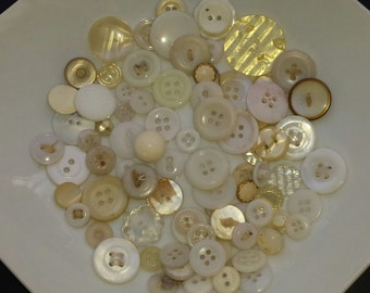 Lot of various vintage white color buttons
