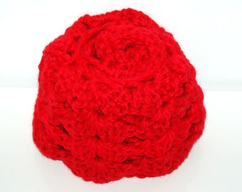Crochet Infinity Scarf - Red
