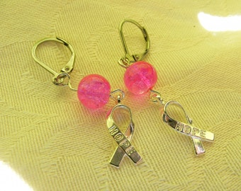 Pink Breast Cancer Awareness Earrings