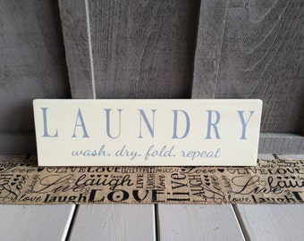 Laundry Room Wood Sign // laundry // laundry room decor // wash // dry // fold // repeat // wood painted sign