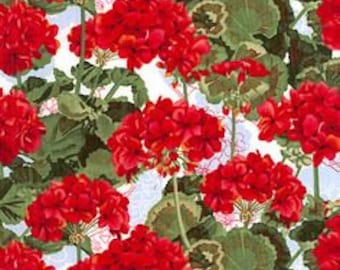 2 yds _ Bright Red Geraniums _ Floral