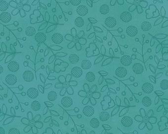 Daisy Dance Aqua - Per Yd - Clothworks - Sue Zipkin