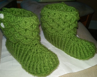 Crochet Crocodile Stitch slippers/booties