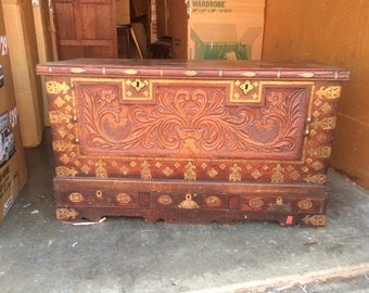 Carved Dowery chest one-of-a-kind