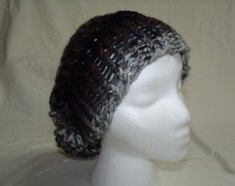 Open Weave Slouch Beanie--Adult Size--Knitted Hat