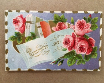 Vintage Embossed Rose Postcard // Remember Me
