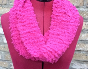 Hand made knitted pink wrap warm neck