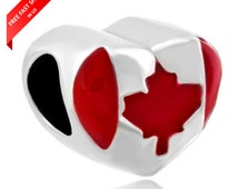Canada Charm Pandora Suitable - Canada Charm - Canada Map Charm Pandora Suitable - Canada Flag Charm - Canada bead charm fits pandora
