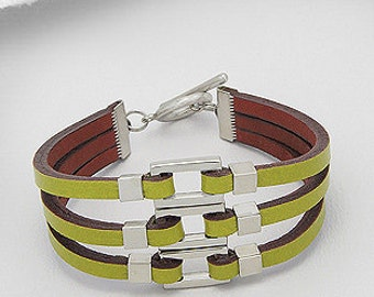 Leather Bracelet with Stainless Steel Finish