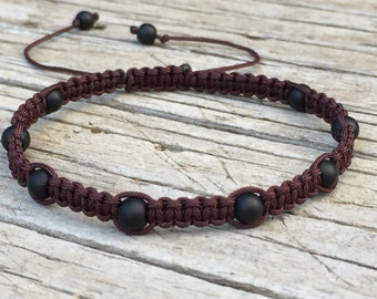 Matt Black Beaded Anklet or Bracelet , Adjustable Cord Macrame Friendship Bracelet, Beaded Bracelet, Brown Bracelet, Surf Bracelet, Gift