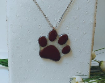 "Pendant ""footprint"" glass fusing. Necklace glass footprint dog. Gifts for her. Gift ideas for the."
