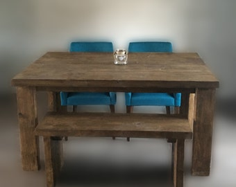 6 x 3 ft Reclaimed Timber Dining Table with or without bench seating