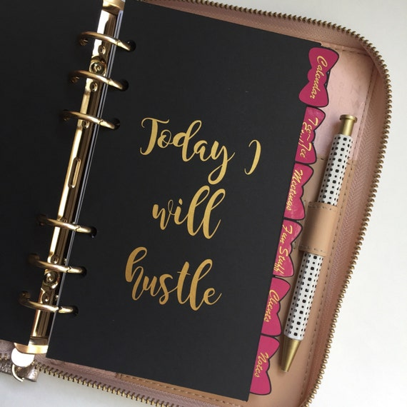 CUSTOM 6 BOW Tab Black Personal Planner Dividers | Personal Size