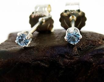 Swiss blue topaz earring, round earrings blue topaz, sterling silver stud earrings 2 mm
