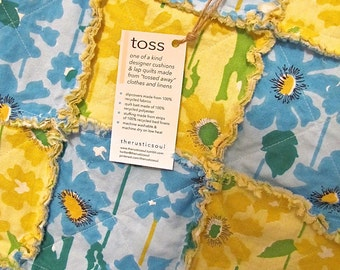Recycled, Lightweight Rag Quilt - Blue and Yellow Flowers